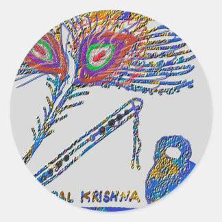 Sticker Rond Plume de paon et cannelure - lièvre Krishna