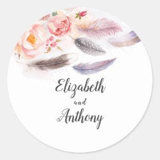 Sticker Rond Plumes florales Boho élégant