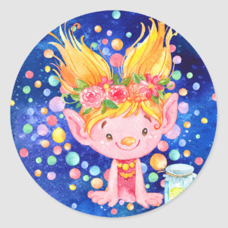 Sticker Rond Point blond mignon Troll et Firefies à oreilles