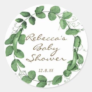 Sticker Rond pois d'autocollant de baby shower de pois doux