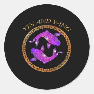 Sticker Rond Poisson rouge japonais Yin et Yang de koi