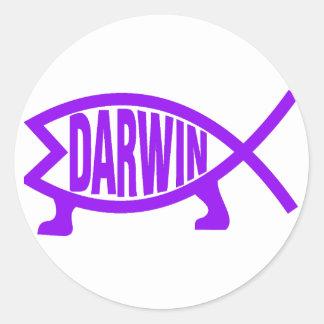 Sticker Rond Poissons originaux de Darwin (pourpres)