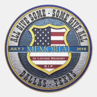 Sticker Rond Police Blue Line mince commémoratif de Dallas