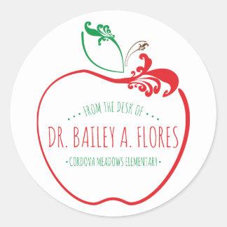 Sticker Rond pomme de flourish de bureau de professeurs