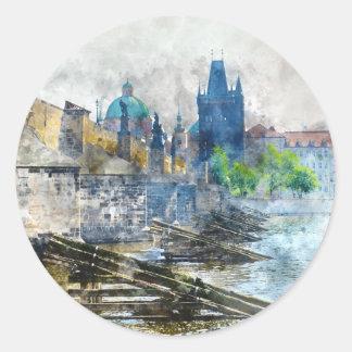 Sticker Rond Pont de Charles dans la République Tchèque de