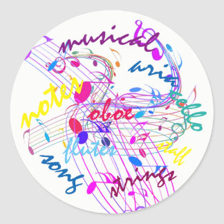 Sticker Rond Poppin colore les notes musicales sur les