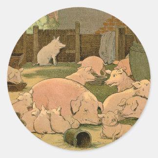 Sticker Rond Porcs et porcelets à la ferme