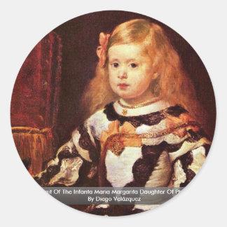 Sticker Rond Portrait de la margarita de Maria d'Infanta