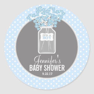 Sticker Rond Pot de maçon de baby shower (bleu)