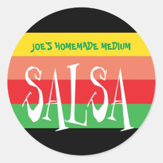 Sticker Rond Pot de Salsa avec les rayures colorées d'amusement