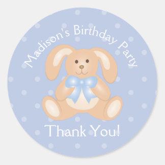 Sticker Rond Premier Merci de fête d'anniversaire de lapin