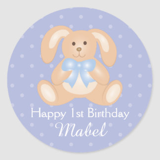 Sticker Rond Première fête d'anniversaire de lapin mignon de