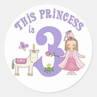 Sticker Rond Princesse 3ème anniversaire de licorne