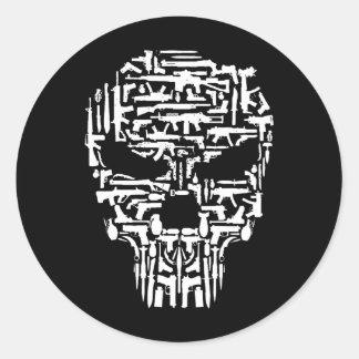 Sticker Rond Produits tribaux de crâne, d'armes à feu et de