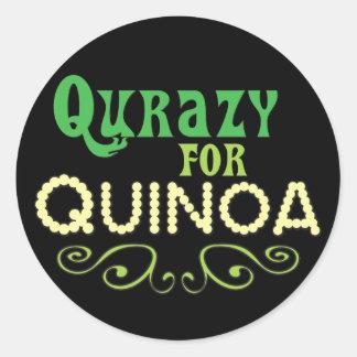 Sticker Rond Qurazy pour le © de quinoa - slogan drôle de