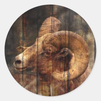 Sticker Rond RAM primitive de montagne de fibre de bois