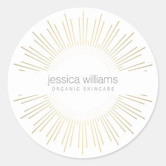 Sticker Rond Rayon de soleil élégant d'or de beauté