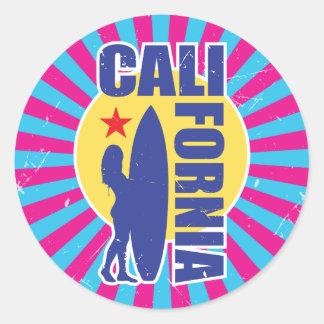 Sticker Rond Rayon de soleil vintage de surfer de la Californie