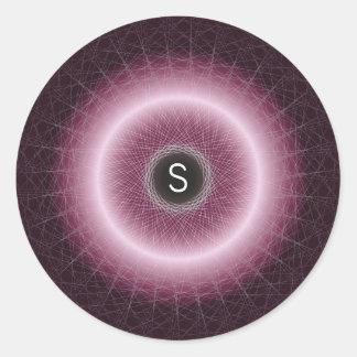 Sticker Rond Rayonnement du monogramme géométrique pourpre et