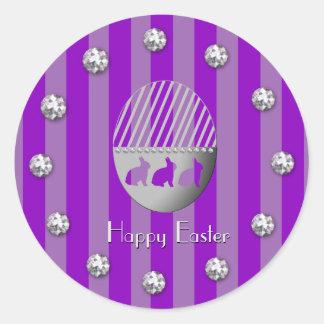Sticker Rond Rayures de lapin d'oeuf de pâques et plombs