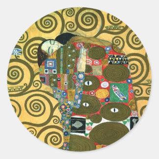 Sticker Rond Réalisation aka l'étreinte par Gustav Klimt