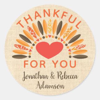 """Sticker Rond """"Reconnaissant rustique pour vous"""" thanksgiving"""