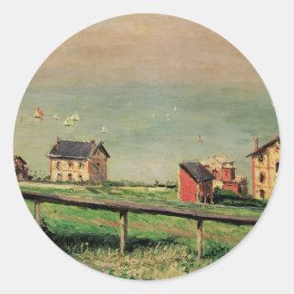 Sticker Rond Régate chez Villerville par Gustave Caillebotte