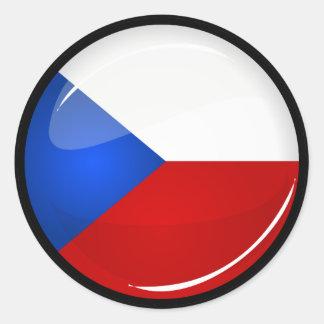 Sticker Rond Représentant rond brillant de Tchèque. Drapeau