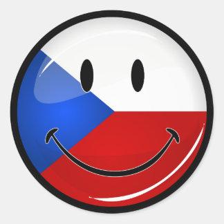 Sticker Rond Représentant tchèque de sourire de rond brillant.