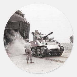 Sticker Rond Réservoir de Sherman et navire de débarquement de