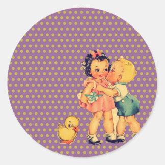 Sticker Rond rétros enfants de cru de kitsch de pois de vieille