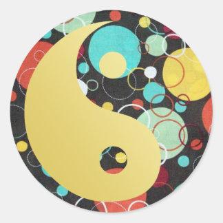 Sticker Rond Rétros points Yin et Yang