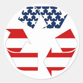 Sticker Rond Réutilisant le symbole - blanc et bleu rouges