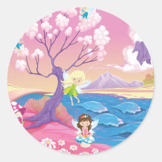 Sticker Rond Rive magique avec des fées licorne et sirène