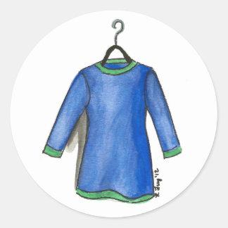 Sticker Rond Robe bleue sur la mode de Fashionista d'achats de