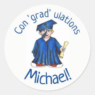 Sticker Rond Robe de casquette de diplômé d'obtention du