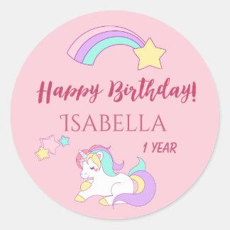 Sticker Rond Rose magique de joyeux anniversaire de licorne