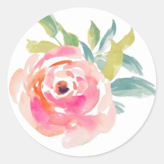 Sticker Rond Roses roses élégants d'aquarelle floraux