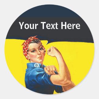 Sticker Rond Rosie la travailleuse active d'effort de guerre de