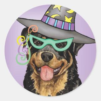 Sticker Rond Rottweiler de Halloween