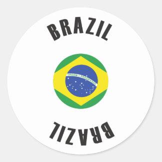 Sticker Rond Roue de drapeau du Brésil