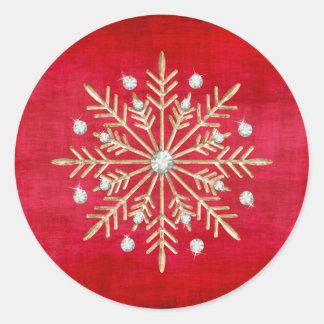 Sticker Rond Rouge et or de flocons de neige de Noël