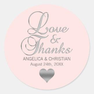 Sticker Rond Rougissent l'amour et les mercis roses de mariage