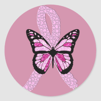 Sticker Rond Ruban rose de papillon de conscience de cancer du