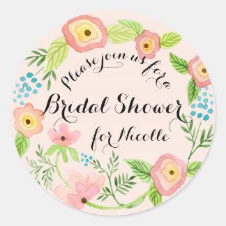 Sticker Rond Rustique rougissent nuptiales floraux de hippie