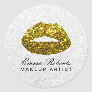 Sticker Rond Salon de beauté chic de lèvres de scintillement