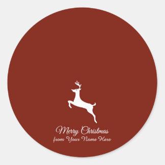 Sticker Rond Salutations élégantes de Noël de silhouette de