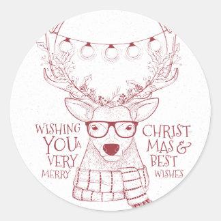 Sticker Rond Salutations peu précises de Joyeux Noël de renne