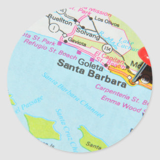 Sticker Rond Santa Barbara, la Californie