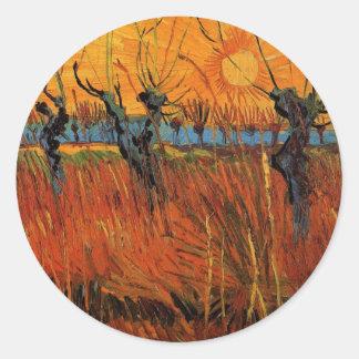 Sticker Rond Saules de Van Gogh au coucher du soleil,
